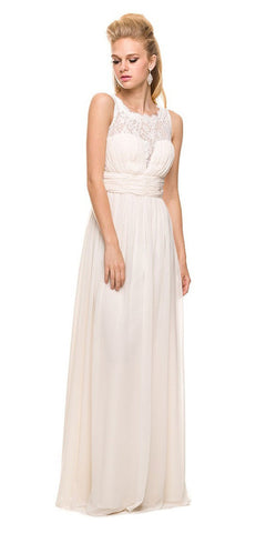 Sleeveless Chiffon Bridesmaid Dress Ivory Long Lace Bodice