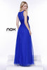 Sleeveless Chiffon Bridesmaid Dress Royal Blue Long Lace Bodice