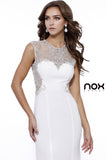 Sleeveless Floor Length Dress Ivory Jewel Embellished Sheer Neck