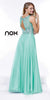 Sleeveless Long Prom Gown Mint Green Chiffon A Line Beaded Bodice