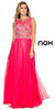Sleeveless Long Prom Gown Watermelon Chiffon A Line Beaded Bodice