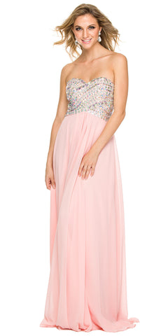 Sparkly Prom Dress Bashful Pink Floor Length Strapless Empire