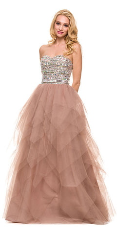 Strapless Bling Top Prom Gown Blush/Tan Tulle Skirt Sweetheart