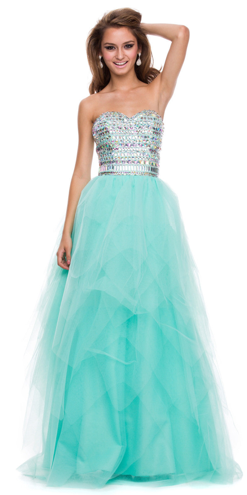Strapless Bling Top Prom Gown Baby Pink Tulle Skirt Sweetheart ...