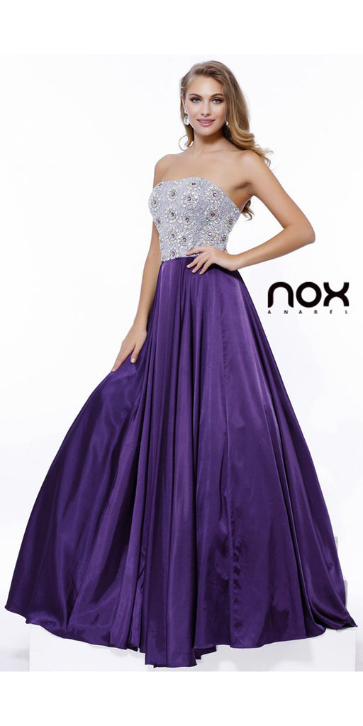 Strapless Plum Prom Gown Satin A Line Floor Length Beaded Top