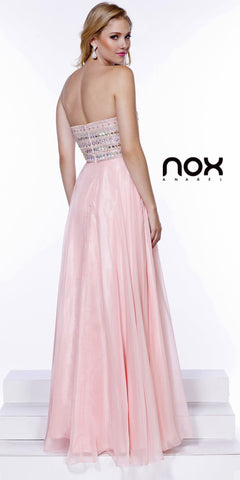 Strapless Prom Gown Bashful Pink Long Chiffon A Line Stone Bodice