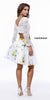 Three Quarter Length Sleeve Lace Top Two Piece Floral Print Dress