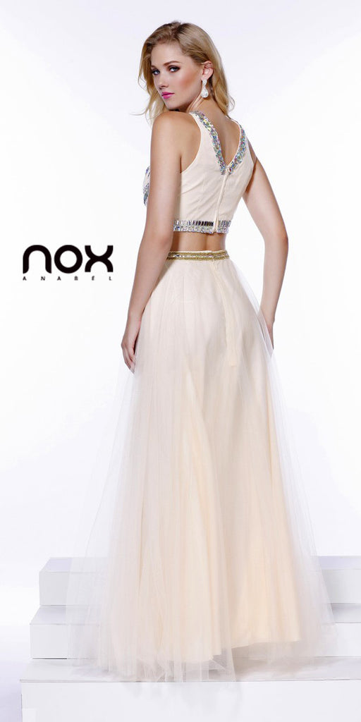 Two Piece Glamorous Prom Gown Nude Tulle Skirt Jewel Bodice