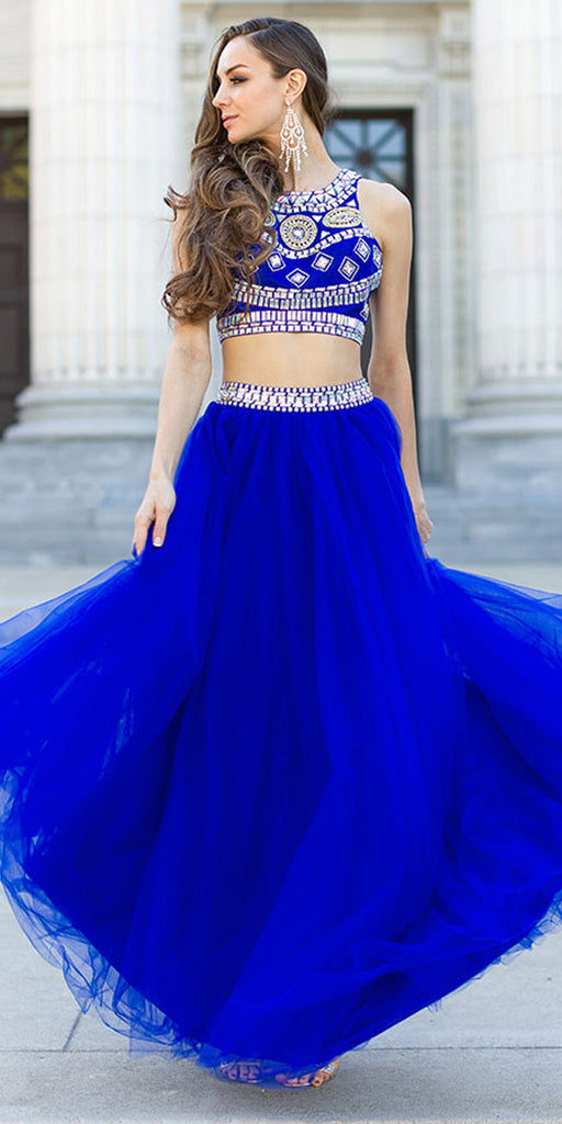 Two Piece Glamorous Prom Gown Royal Blue Tulle Skirt Jewel Bodice