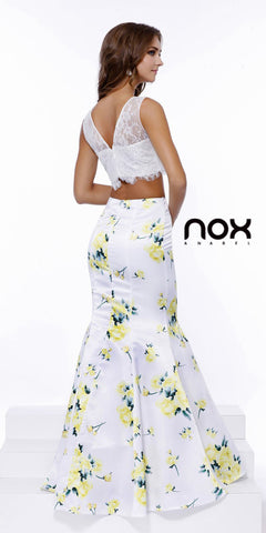 Two Piece Long Mermaid Dress with Yellow Print Skirt