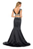 Two Piece Pageant Gown Black Satin Mermaid Cap Sleeves
