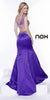 Two Piece Pageant Gown Purple Satin Mermaid Cap Sleeves