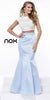 Two Piece Pearl Mermaid Open Back Prom Dress Baby Blue Cap Sleeve
