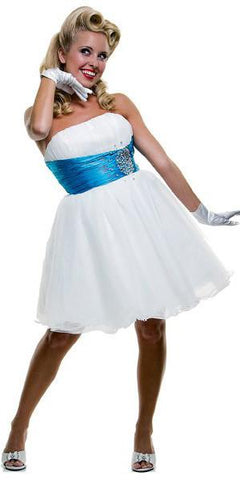 CLEARANCE - White/Turquoise Homecoming Dress Tulle Short Strapless