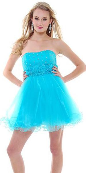 CLEARANCE - Turquoise Short Damas Dress Chiffon Tulle Skirt Strapless