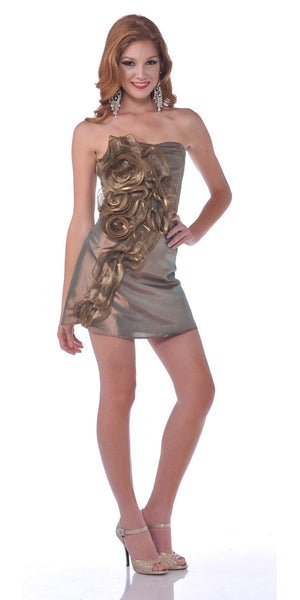 CLEARANCE - Gold Metallic Short Strapless Party Cocktail Dress Mini