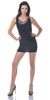CLEARANCE - Short Adorned V-Neckline Tank Strap Black Mini Party Club Dress