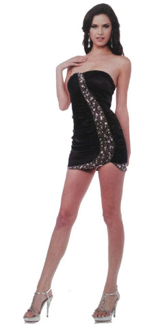CLEARANCE - Sexy Satin Strapless Short Mini Club Jeweled Black Dress Form Fit