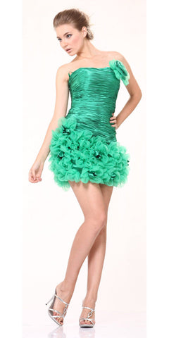 CLEARANCE - Green Cocktail Dress Strapless Homecoming Dress Ruched Floral Skirt
