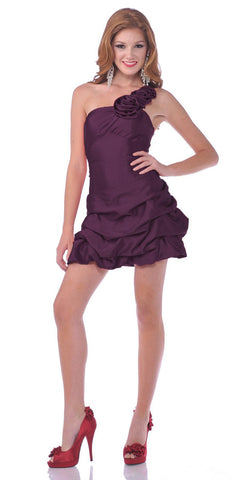 CLEARANCE - Sexy One Shoulder Purple Cocktail Party Dress Pick Up Layer Skirt