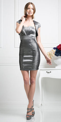 CLEARANCE - Sexy Charcoal Form Fit Cocktail Dress Short Cap Sleeve Bolero
