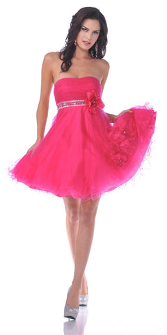 CLEARANCE - Hot Pink Short Party Dress With Rhinestone Waist