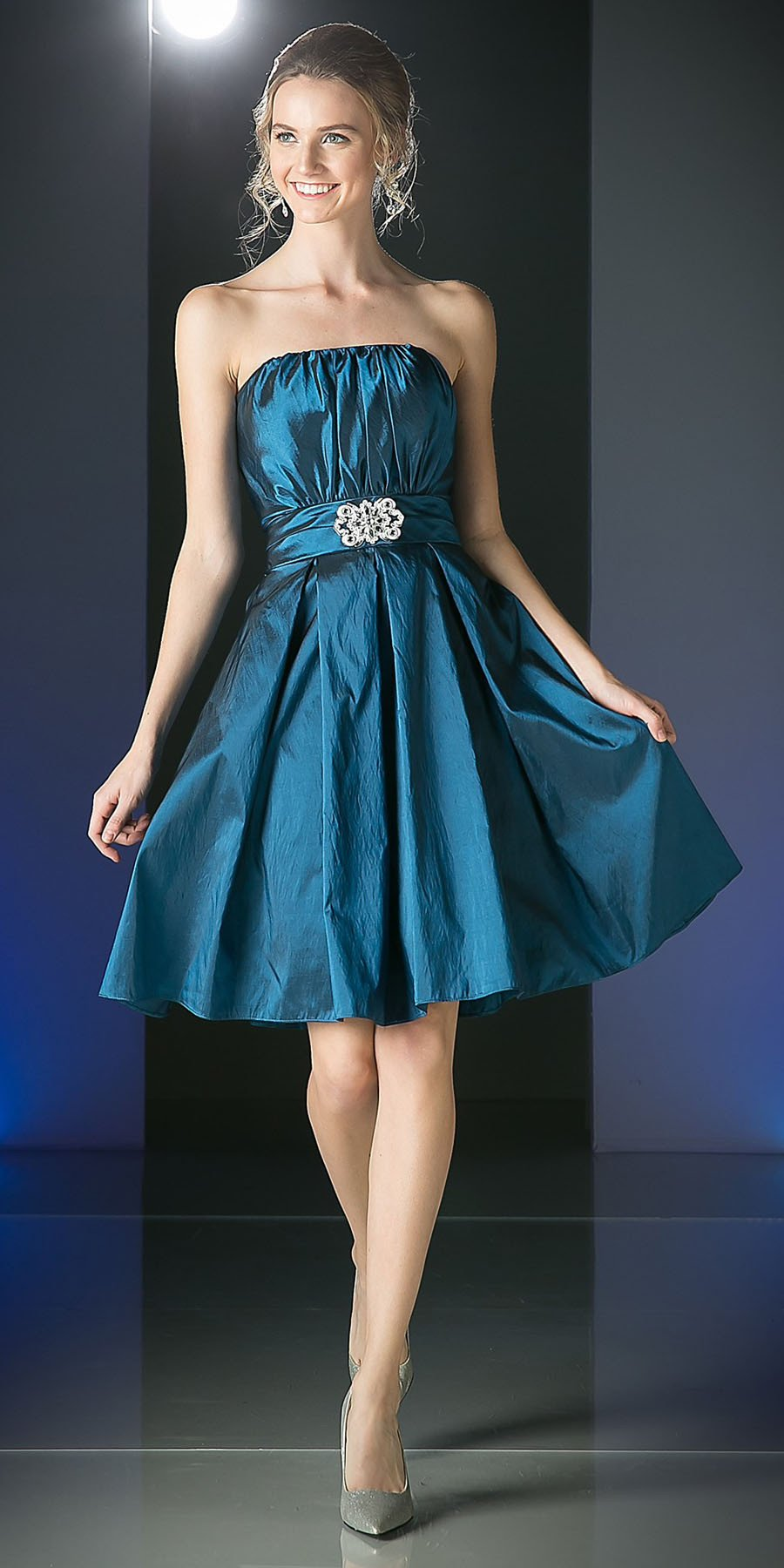 CLEARANCE - Knee Length Teal Blue Dress Strapless Taffeta Jewel ...