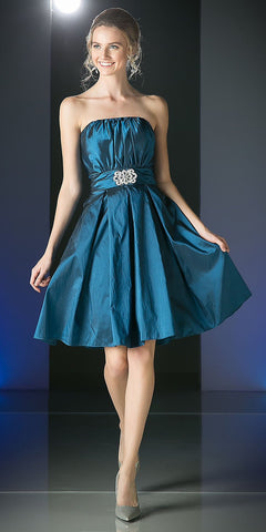 CLEARANCE - Knee Length Teal Blue Dress Strapless Taffeta Jewel Waist