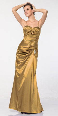 CLEARANCE - Plus Size Gold Satin Dress Pleated Bodice Strapless