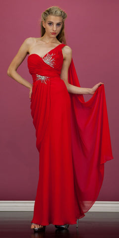 CLEARANCE - Red Greek One Shoulder Dress Chiffon Grecian Gown