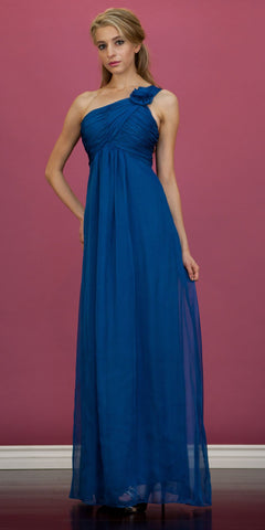 CLEARANCE - Teal Blue One Shoulder Dress Long Chiffon Empire