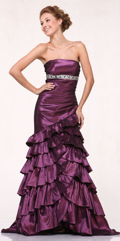 CLEARANCE - Plum Military Ball Dress Taffeta Strapless Layered Ruffled Skirt