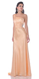 CLEARANCE - Gold Formal Dress Prom Satin One Shoulder Rhinestone Empire (Size 4)