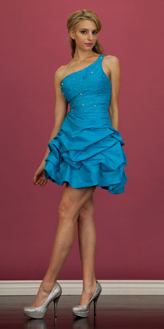 CLEARANCE - Turquoise Dama Dress Bubble One Strap Short Ruffle