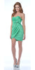 CLEARANCE - Short Green Cocktail Dress Tulip Skirt Strapless Bow Waist Wrap
