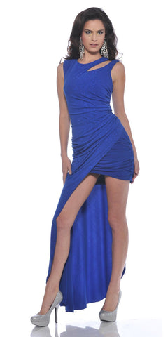 CLEARANCE - Sexy Royal Blue High Low Party Dress Formal Glitter