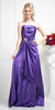 CLEARANCE - Long Strapless Purple Dress Satin Rhinestone Pleated Bodice