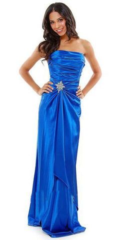CLEARANCE - Long Strapless Royal Blue Dress Satin Rhinestone Pleated Bodice