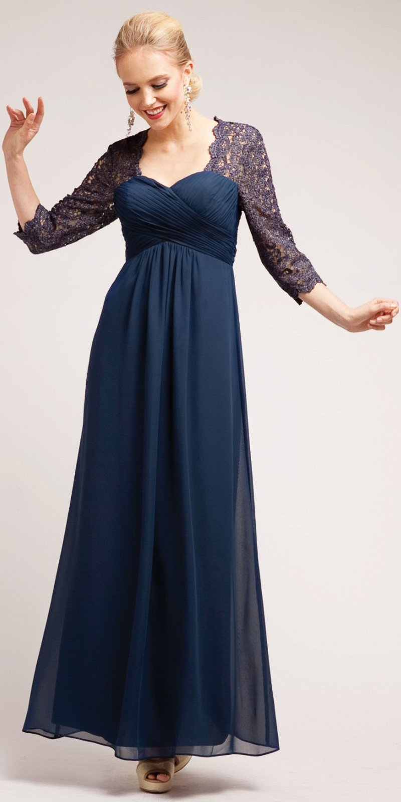 CLEARANCE - Lace Mid Length Sleeve Plus Size Navy Mother Bride Dress (Size  4XL)