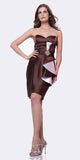 CLEARANCE - Brown Dress Short Strapless Sweetheart Ruffle