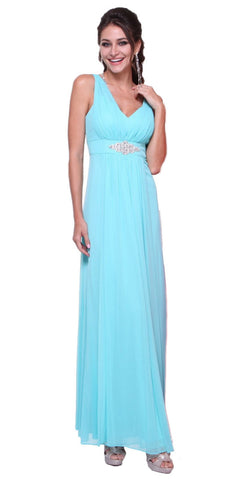 CLEARANCE - Chiffon Semi Formal Mint Dress Long Empire Rhinestone Waist