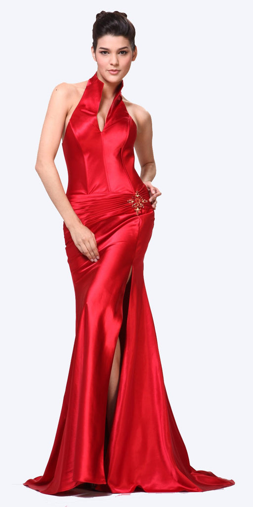 CLEARANCE - Red Collar Halter Dress Satin Formal Open Slit Sexy