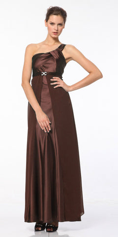CLEARANCE - One Shoulder Brown Dress Satin Chiffon Gown