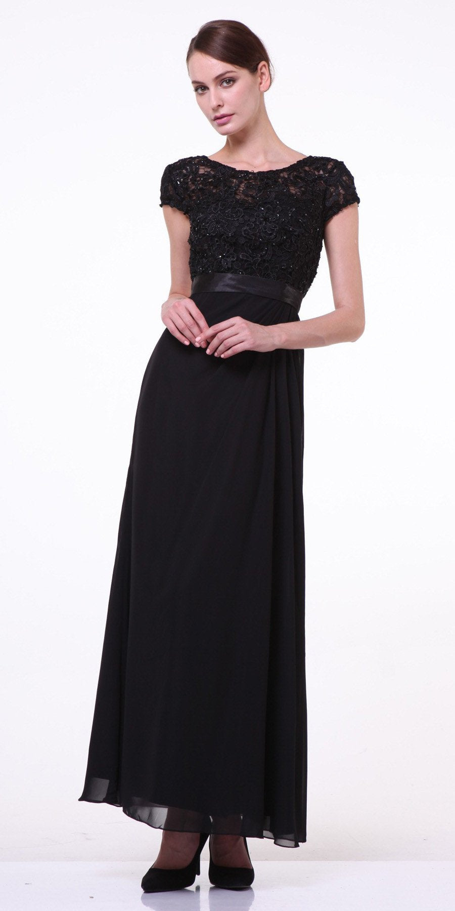 CLEARANCE - Plus Size Mother of Groom Black Dress Long Short Sleeve Lace  (Size 4XL)