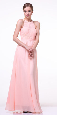 CLEARANCE - High Neck Illusion Peach Long Chiffon A Line Dress