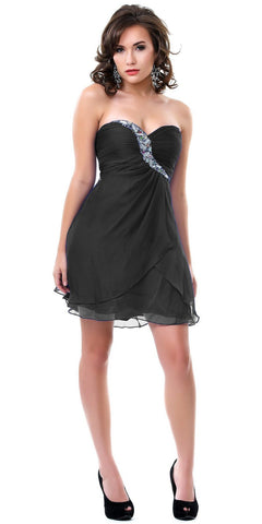 CLEARANCE - Short A Line Chiffon Black Dress Strapless Jewels Empire Waist