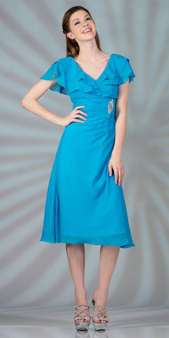 CLEARANCE - Dark Turquoise Tea Length Chiffon Dress Short Sleeves Semi Formal