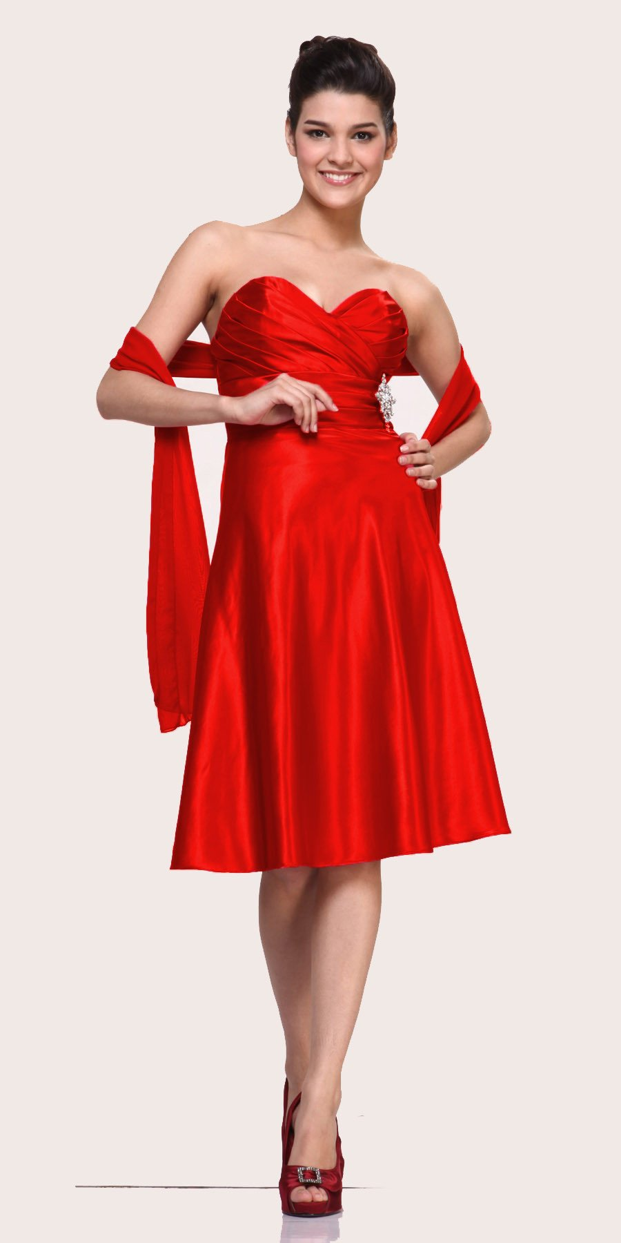 CLEARANCE - Strapless Red Dress Knee Length Sweetheart Brooch Satin ...