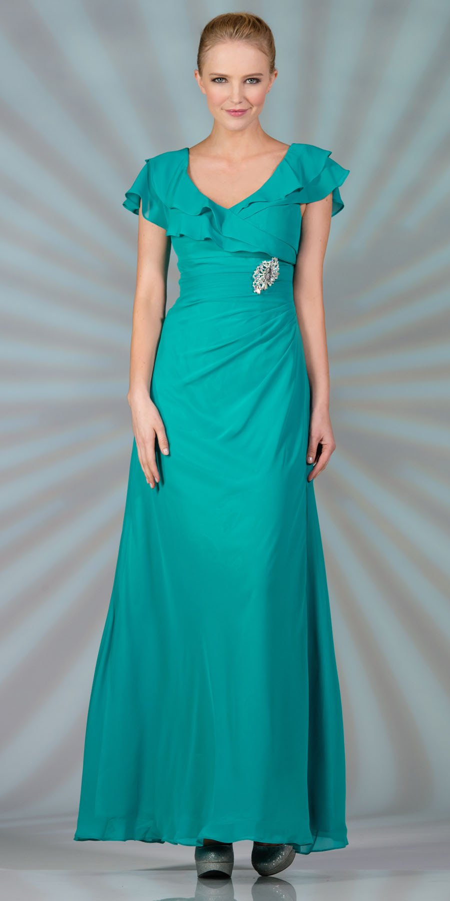 CLEARANCE - Long Mother of Bride Jade Dress Chiffon Short Sleeves ...