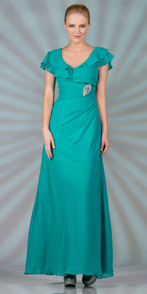 CLEARANCE - Long Mother of Bride Jade Dress Chiffon Short Sleeves
